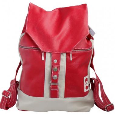 Кожаный рюкзак SofiTone RM 002 Красный - Белый