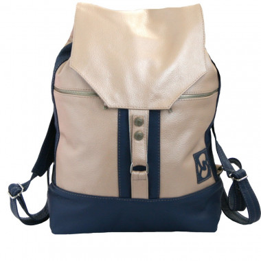 Кожаный рюкзак SofiTone RM 002 Бежевый перламутр - Синий