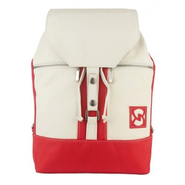 Кожаный рюкзак SofiTone RM 002 Белый - Красный