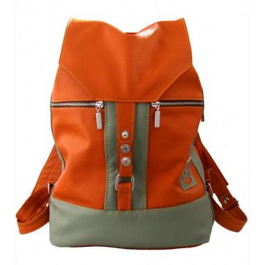 Кожаный рюкзак SofiTone RM 002 Терракотовый - Оливковый