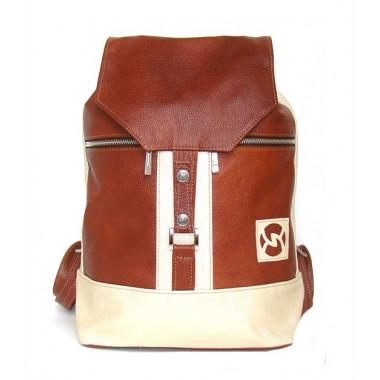 Кожаный рюкзак SofiTone RM 002 Светлый рыжий - Бежевый перламутровый