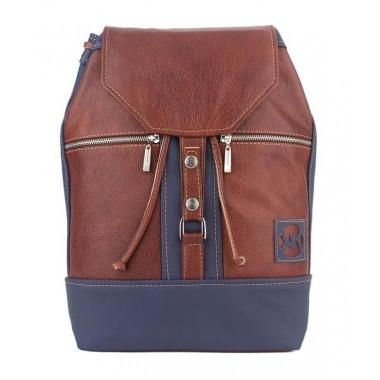 Кожаный рюкзак SofiTone RM002 Тёмно рыжий - Синий