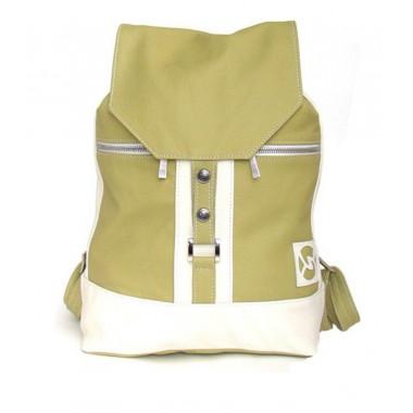 Кожаный рюкзак SofiTone RM002 Салатовый - Белый