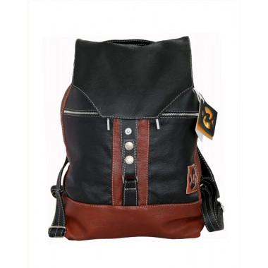 Кожаный рюкзак SofiTone RM 002 Чёрный с рыжим