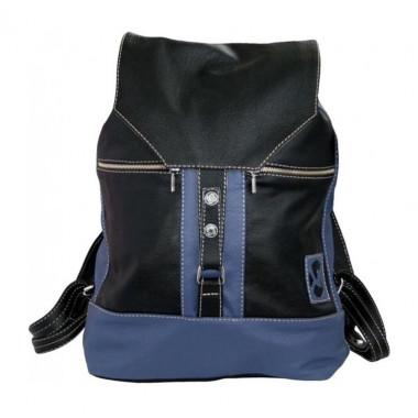 Кожаный рюкзак SofiTone RM002 Чёрный - Синий
