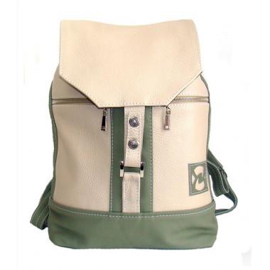 Кожаный рюкзак SofiTone RM002 Светло-серый - Оливковый