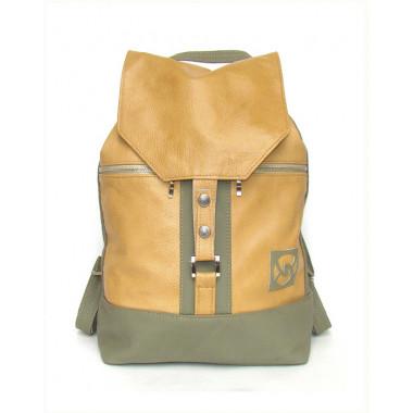 Кожаный рюкзак SofiTone RM 002 Бежевый-Оливковый